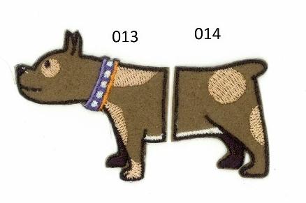 Strijkapplicatie Hond tweedelig. Dierenapplicatie in twee delen.