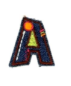 Alfabet Jeans letter A. Geborduurde strijkapplicatie in Jeans stijl
