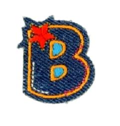 Alfabet Jeans letter B. Geborduurde strijkapplicatie in Jeans stijl