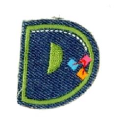 Alfabet Jeans letter D. Geborduurde strijkapplicatie in Jeans stijl