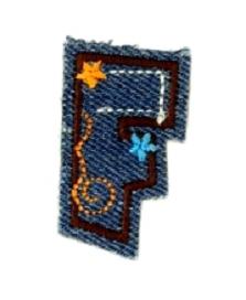 Alfabet Jeans letter F. Geborduurde strijkapplicatie in Jeans stijl