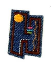 Alfabet Jeans letter H. Geborduurde strijkapplicatie in Jeans stijl