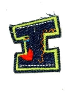 Alfabet Jeans letter I. Geborduurde strijkapplicatie in Jeans stijl