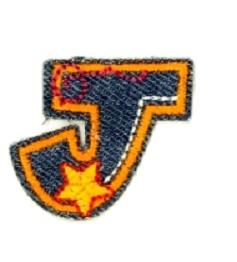 Alfabet Jeans letter J. Geborduurde strijkapplicatie in Jeans stijl