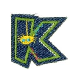 Alfabet Jeans letter K. Geborduurde strijkapplicatie in Jeans stijl