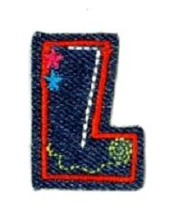 Alfabet Jeans letter L. Geborduurde strijkapplicatie in Jeans stijl