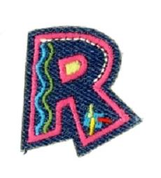 Alfabet Jeans letter R. Geborduurde strijkapplicatie in Jeans stijl