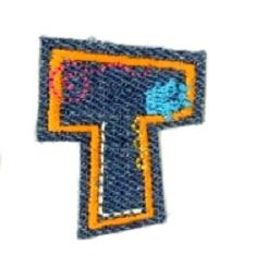 Alfabet Jeans letter T. Geborduurde strijkapplicatie in Jeans stijl