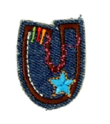 Alfabet Jeans letter U. Geborduurde strijkapplicatie in Jeans stijl