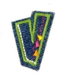 Alfabet Jeans letter V. Geborduurde strijkapplicatie in Jeans stijl