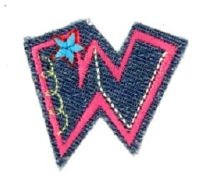 Alfabet Jeans letter W. Geborduurde strijkapplicatie in Jeans stijl
