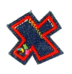 Alfabet Jeans letter X. Geborduurde strijkapplicatie in Jeans stijl