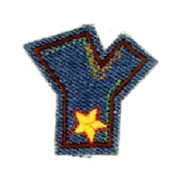 Alfabet Jeans letter Y. Geborduurde strijkapplicatie in Jeans stijl