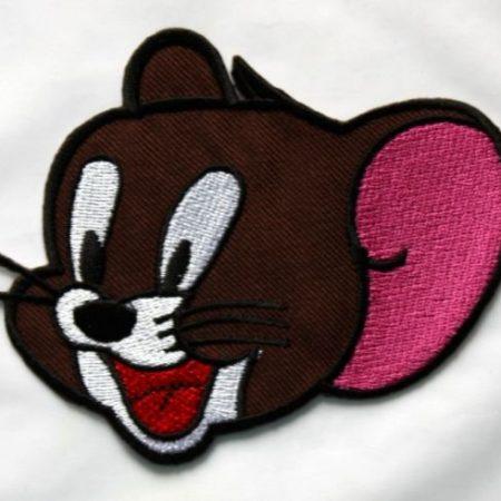 Strijkapplicatie Jerry Mouse. Geborduurde strijkapplicatie