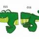 Strijkapplicatie Krokodil tweedelig. Dierenapplicatie in twee delen