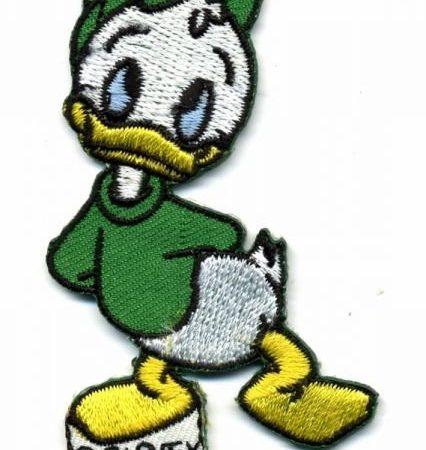 Strijkapplicatie geborduurd. Groen. Neefje Donald Duck: Kwak.