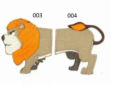 Strijkapplicatie Leeuw klein tweedelig. Dierenapplicatie in twee delen