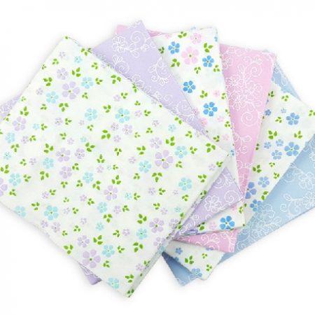 Fat quarter quiltstofpakket Pastel Floral. Zes quiltstofjes