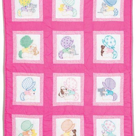 Quiltblokken voor babyquilt Voorbedrukt met Sunbonnet Sue babies