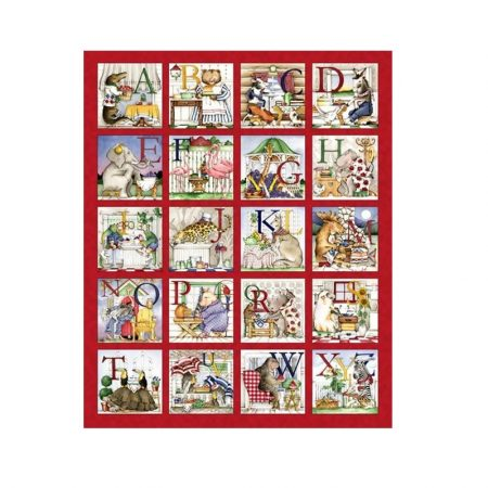 Quiltpanel ABC Hungry Animals Hongerige Dieren.