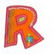 Strijkapplicatie Alfabet Fun letter R. Van stevige fleece stof.