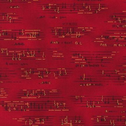 Quiltstof katoen All that Jazz metallic 13629 notenbalk rood