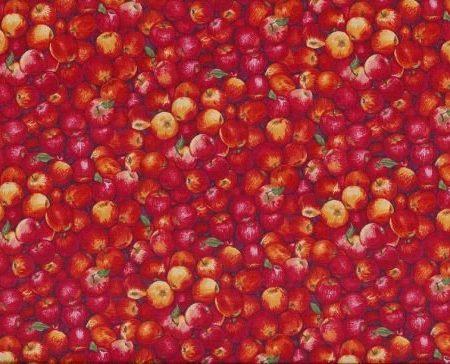Quiltstof katoen appels rood 1055/R. Verkoop per 25 cm