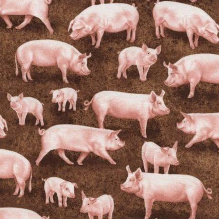 Quiltstof katoen varkens en biggetjes 2497. Verkoop per 25 cm