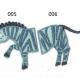 Strijkapplicatie Zebra tweedelig. Dierenapplicatie in twee delen.