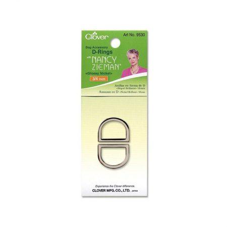 Clover 9530 Tassenring D-vormig 18 mm Glossy Nickel