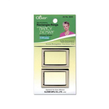 Clover 9540 Tassenring rechthoek 32 mm Glossy Nickel