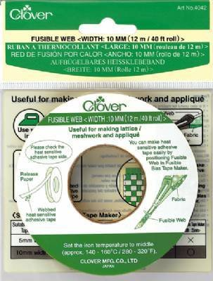 Fusible web tape Biaisband van Clover. Breedte: 10 mm. Lengte: 12 meter