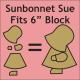 Paper Pieces Paper piecing mallen Sunbonnet Sue 6 inch