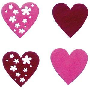 Wolvilt van het merk La Fourmi. Een assortiment van 4 verschillende harten