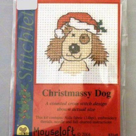 Mouseloft Borduurpakket Kerstkaart Christmassy Dog Kerst Hond 831stl