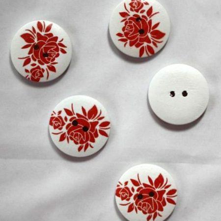 Houten knoop bloem 30 mm