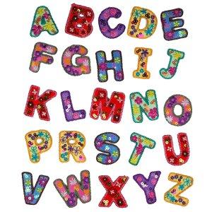 Alfabet en Cijfers Flower Power Strijkapplicaties