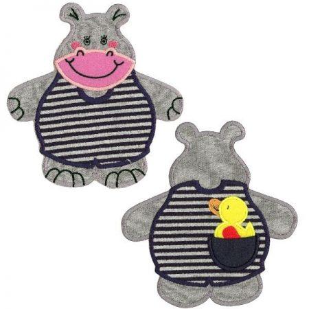 Strijkapplicatie Nijlpaard tweedelig. Dierenapplicatie in twee delen