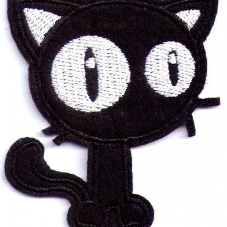 Strijkapplicatie zwarte poes of kat. Geborduurd. Voor kleding, tassen enz.