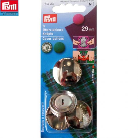 Prym 323163 Stofknopen 29 mm. Inhoud: 3 stuks. Diameter: 29 mm.