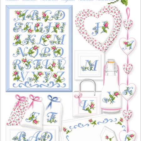 Borduurpatroon Lindner. Onderwerp: Rosen Alphabet. Rozen Alfabet 035