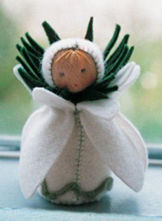 Viltpakket van De Witte Engel. Compleet. Tafelpopje Sneeuwklokpoppetje