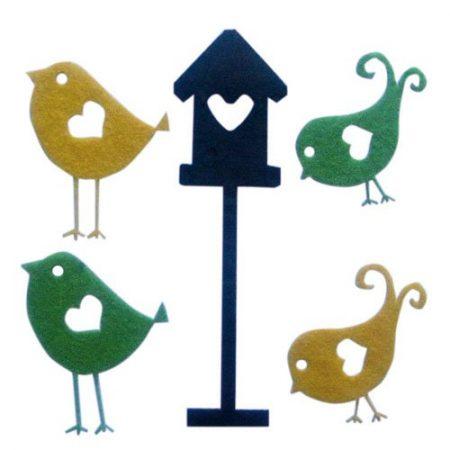 Wolvilt van het merk La Fourmi. Assortiment van 4 vogels en 1 vogelhuis