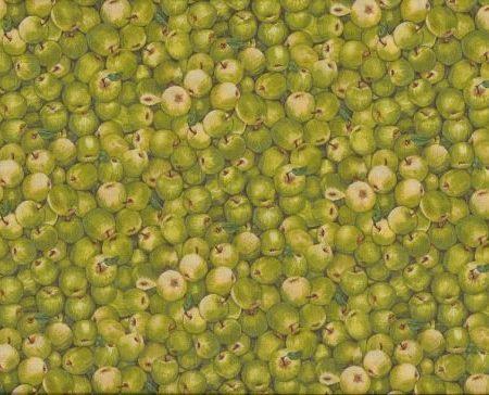 Quiltstof katoen appels groen 1055/G. Verkoop per 25 cm