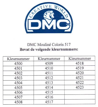 DMC Mouliné Coloris 517. Borduurgaren met per draadje 4 kleurtinten