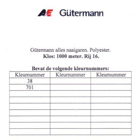 Gütermann naaigaren 1000 meter. Rij 16. Naaigaren van hoge kwaliteit