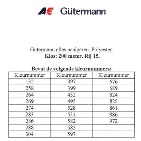 Gütermann naaigaren 200 meter. Rij 15. Naaigaren van hoge kwaliteit