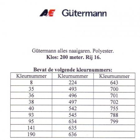 Gütermann naaigaren 200 meter. Rij 16. Naaigaren van hoge kwaliteit