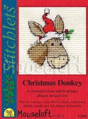 Mouseloft Borduurpakket Kerstkaart Christmas Donkey Kerst ezel