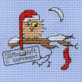 Mouseloft Borduurpakket Kerstkaart Christmas Eve Owl Uil op kerstavond